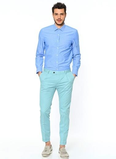 Penford Uzun Kollu Puantiyeli Gömlek Mavi